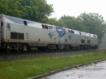 The 3 GE Genisis Diesels of Amtraks Cressent idle in the Rain