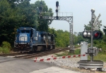 NS ex Conrail Patched GE B40-8 4801 Trails an NS GM/EMD GP38-2 on the NS Duluth Local at the Main Street Grade Crossing