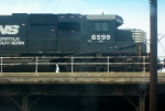 NS GM/EMD SD60 6599 Trails on a Southbound NS Manifest at the Eisenhower Parkway Bridge in the Cotton Avenue Area