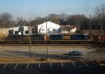 a CSX GM/EMD SD70ACE and a CSX GE ES44DC Lead an Intermodal Stack train