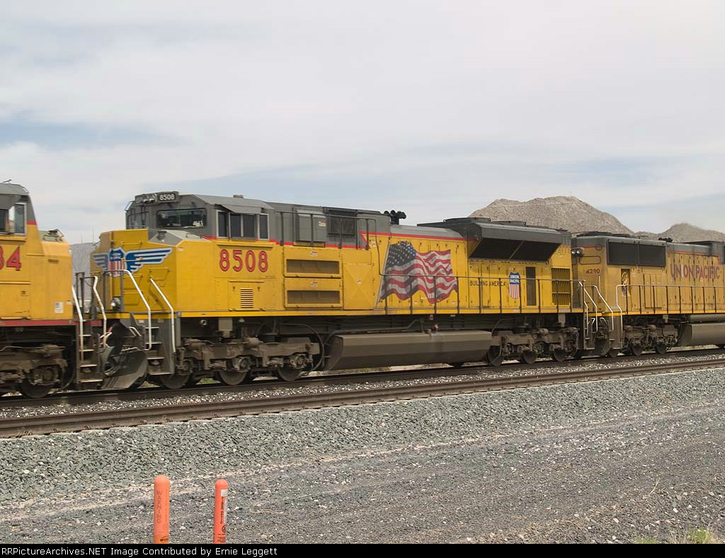 UP 8508 #4 power in a WB doublestack at 2:29pm