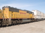 UP 4165 #4 power in an EB doublestack ZLAMN (LA - Marion, AR) at 9:14am