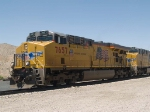 UP 7657 leads an EB manifest QWCFW West Colton - Fort Worth at 12:11pm
