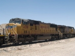 UP 4138 #4 power in an EB manifest QWCFW West Colton - Fort Worth at 12:11pm