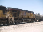UP 5516 #5 power in an EB manifest QWCFW West Colton - Fort Worth at 12:11pm