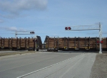 Wood loads crossing Highway 22
