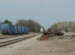 Southbound power runs light northward to get its train