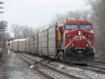 CP 8615 leads X500-02 into the yard from Track 2 onto 2 Track