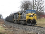 N914-11 rolling west with coal loads