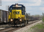 2738 rolls past the stored boxcars on the Reefer Track as it heads west as D007