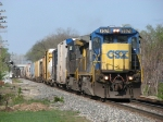 CSX 7574 & 9013 slowly pulling down to the signal with a 63 car Q326-29