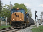 CSX 4779 leads N900 westwards over School St and past the east end signals