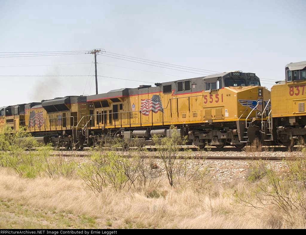 UP 5551 #2 power in a WB manifest at 2:27pm