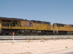 UP 5532 #3 power in a WB doublestack ZMQLA (Mesquite, TX/Los Angeles) at 2:18pm