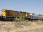 UP 7855 #3 power in a WB manifest MFWWC (Ft Worth - West Colton) at 4:10pm
