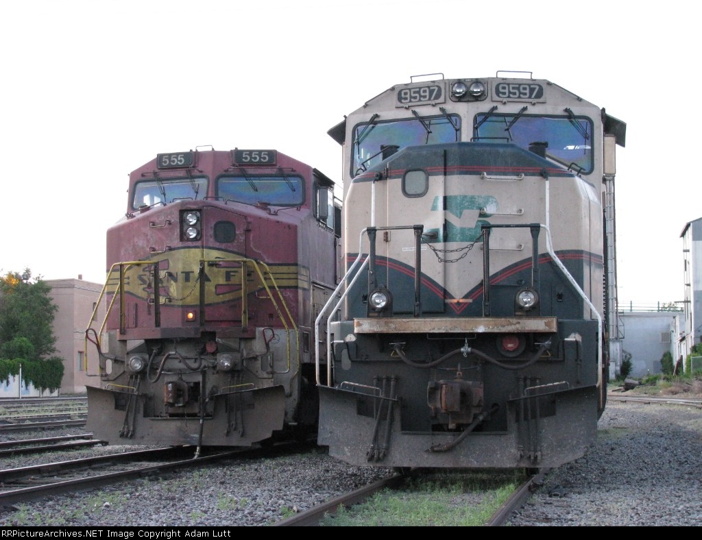 BN 9597 and ATSF 555 in colorado Springs Yard
