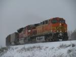BNSF 5716 through the snow