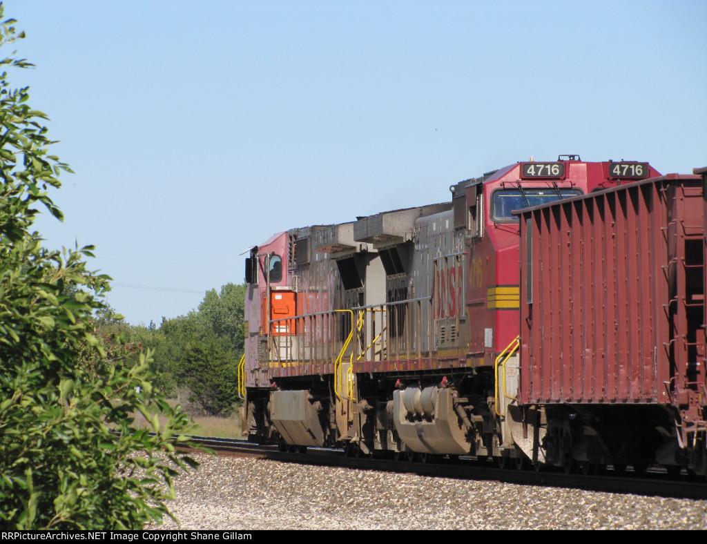 BNSF 4716 and BNSF 934 Lead this rock train NB.