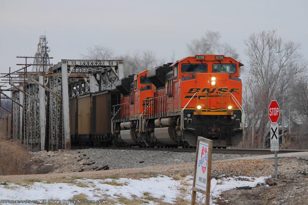BNSF 9298 leads a loaded coal sb.