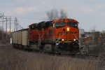 BNSF 6387 leads a slc load of coal at old monroe.