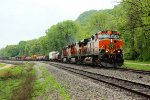 BNSF 993 holds the main for 3 southbounds.