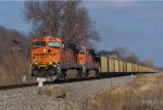 BNSF 5986 rocks a coal load south,