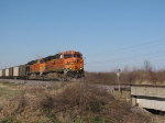 BNSF 6008 leads a coal south and about to make a triple train meet