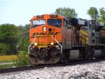 BNSF 5761 leads a ore train south with kcs power.