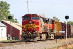 BNSF 768 leads the local back north at old monroe.