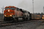 BNSF 6370 heads south past the crew sd75m