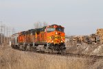 BNSF 5061 heads south with a grain train.