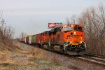 BNSF 6727 leads a grain train sb.