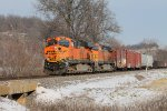 BNSF 7596 leads the galmem sb.