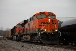 BNSF 6157 leads a coal load sb.
