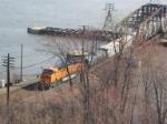BNSF 7552 DPU crossing the Mississippi River