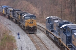 CSX 563 and the Q414 sit in the hole as the U884 heads east