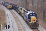 CSX 8208 is a pristine SD40-2 taking up the rear at W.E. Plane as the Q414 waits in the hole
