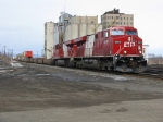 A pair of Olympic Gevo leads a Cp westbound intermodel out of Thunder Bay