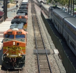 BNSF #5405 and an Amtrak in the station