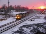 UP 7603 heads east with stacks at la plata on a zero degree day,