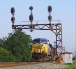 CSX 11 leads Q635 under the westward absolute signal