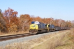 CSX 462 leads a long string of empties past MP 58