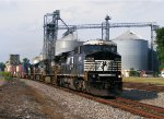 NS EB 234 passing the grain elevator at Kingston, OHio