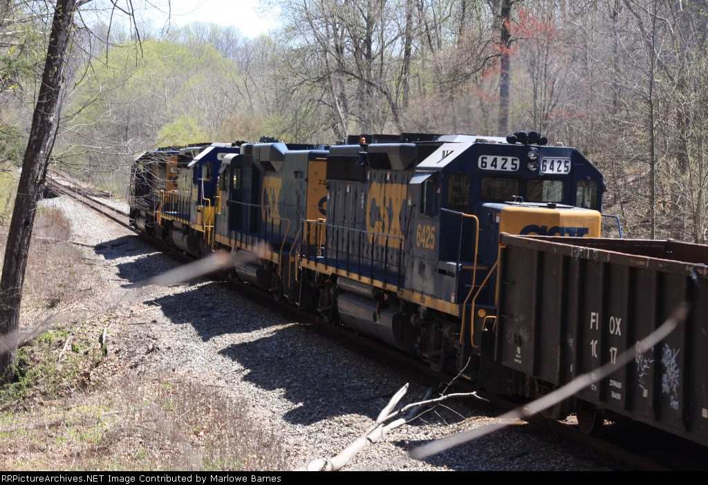 CSX 6425 and the Q411  has just exited the Davis Tunnel