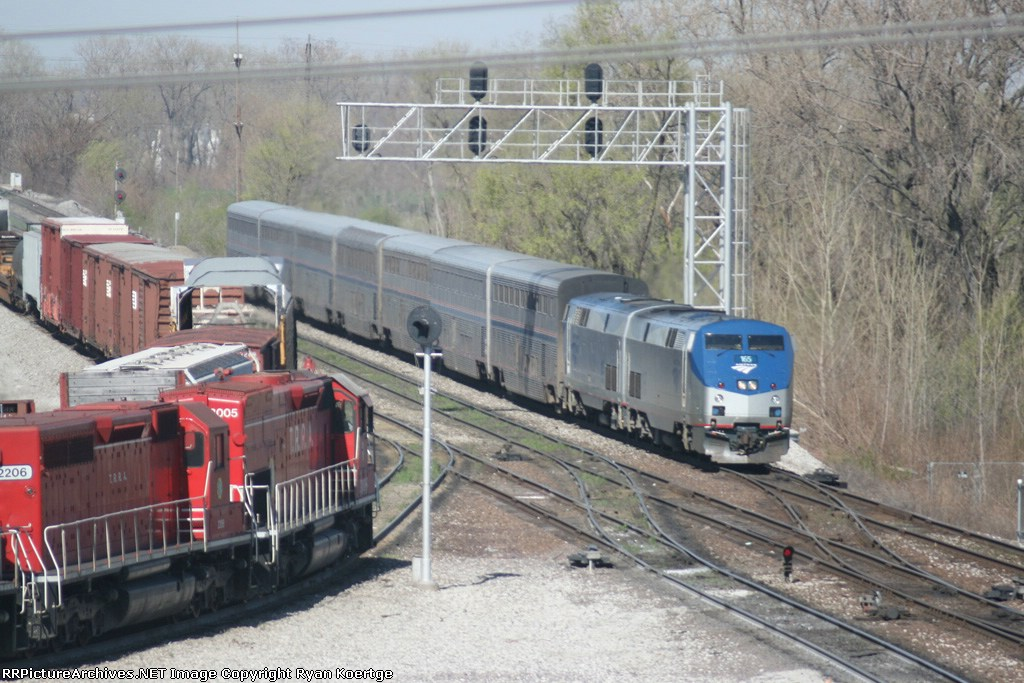 North bound AMTK 165 at Madison, Il..