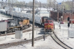 BNSF 784, 4953, 4455 meets UP 5738, 6307 at Madison, IL..