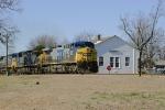 CSX 364 rolls past the restored depot