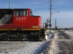 3 in 1. Cn 2537 seen the foreground. CP westfort job aprroaching the diamond with the CN as a CP intermodel passes in the background