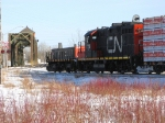 Cn headed over the mission swing bridge