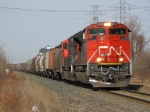 CN 8018 leads a westbound grain train into Thunder Bay